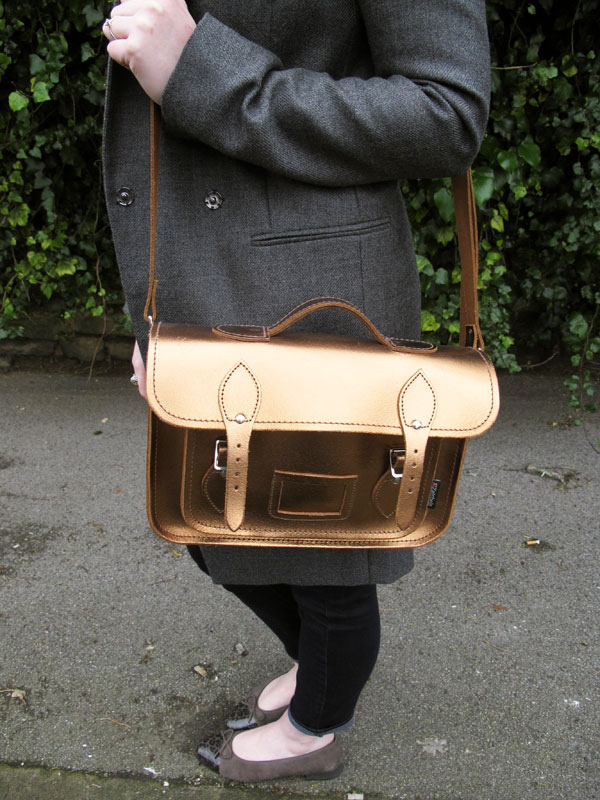 zatchels metallic leather satchel gold
