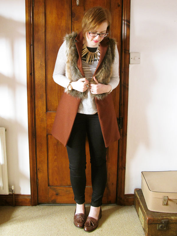 how to wear a faux fur gilet