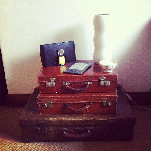 displaying vintage suitcases