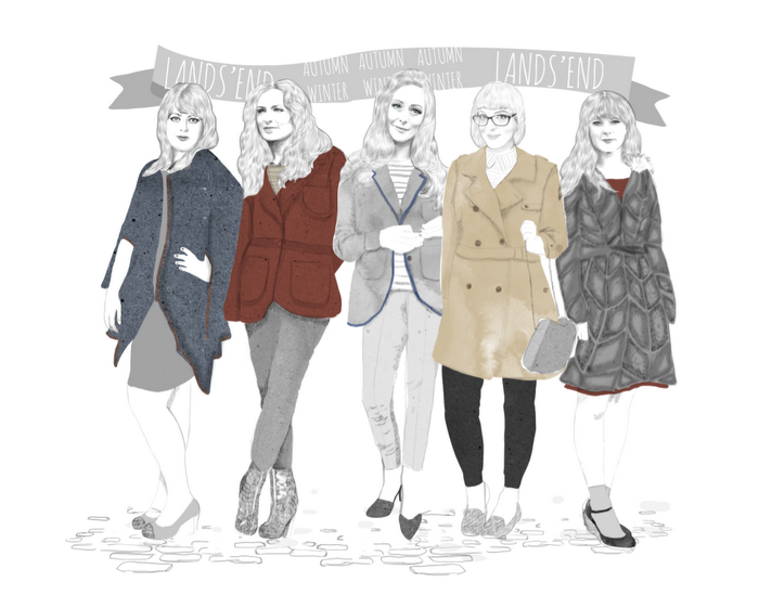 Lands' End outerwear illustration by Natalie Lines